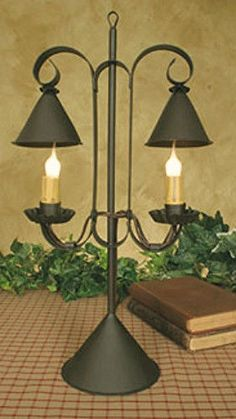 Primitive Country Colonial Style Electric RUSTIC BROWN LAMP Double Candle Light