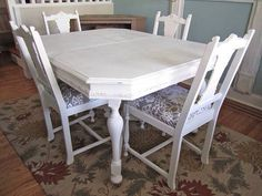Vintage table with 5 chairs, Distressed Table, Kitchen table, dining room table on Etsy, $495.00