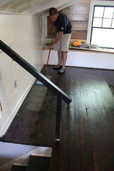 DIY wood floor refinishing (praying all that original hardwood hiding under the carpet is decent!)