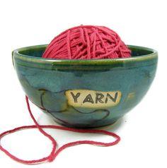 Ceramic Yarn Bowl  Large Green Crochet Holder  by PatsPottery,