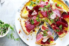 Goat's cheese tart with chia seed pastry This decadent goat's cheese tart is perfect for entert Pastry Recipes, Tart Recipes, Gourmet Recipes, Savoury Recipes, Savory Pastry, Savory Tart, Savoury Pies, Savoury Baking, Cheese Tarts