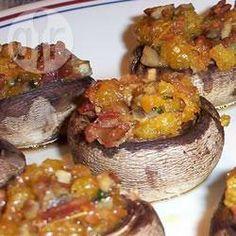 Foto recept: Champignons met bacon-cheddar vulling