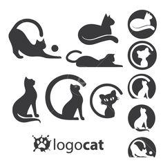 Cat logo set - Logos + Branding for Online Business - Katzen Logo Design, Cat Design, Brand Identity Design, Branding Design, Logo Cat, Owl Logo, Cat Vector, Vector Free, Logo Branding