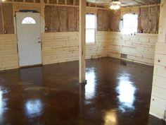 concrete. I've laways loved polished painted concrete floors!
