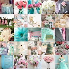Pink, Tiffany blue, ivory and silver.