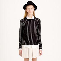 Pinstripe side-slit sweater