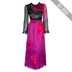 Preowned 1970's Hanae Mori Couture Rose-garden Floral Print Silk Bell-sleeve Belted Gown