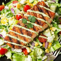 Avocado and Grilled Chicken Chopped Salad with Skinny Chipotle-Lime Ranch - Cooking Classy