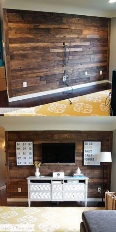 TV Pallet Wall:I have a big collection of beautiful and cheap DIY wood accent wall décor ideas for your inspiration.