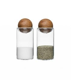 Sagaform Nature Collection Salt and Pepper Glass Salt & Pepper Shakers with Oak Stopper 4 Set of 2 Spice Set, Serving Utensils, Salt And Pepper Set, Red Candy, Burke Decor, Nordic Style, Made Of Wood, Salt Pepper Shakers, Kraut