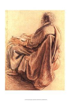 Sepia Man Reading by Rembrandt van Rijn art print Leiden, Rembrandt Drawings, Academic Drawing, Baroque Painting, Etching Prints, Reading Art, Dutch Painters, Inspirational Artwork, Caravaggio