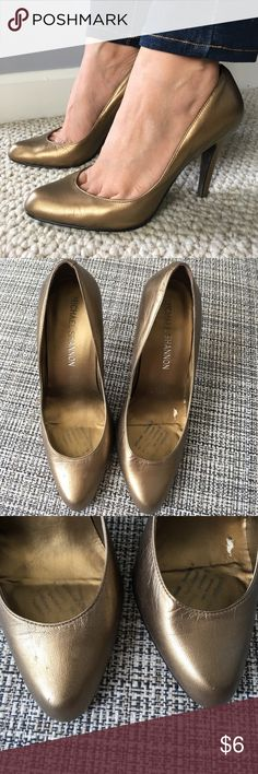 Bronze pumps Michael Shannon bronze pumps in size 5. Moderately worn. Heel is about 4in. Still in great condition, I had shoe pads inside which caused a small tear in the right shoe when taking it out. No original box. Michael Shannon Shoes Heels