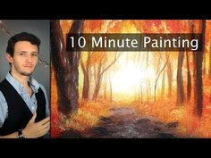 (22) Painting a Misty Autumn Forest Landscape with Acrylics in 10 Minutes! - YouTube