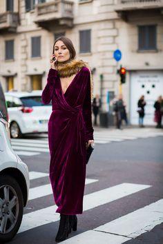 Velvet trend. Wrap around dress with fur collar. Street style, NYC style