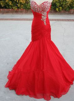 Made To Order Handmade Mermaid Red Organza Prom Dressess 2015, Red Prom Gown, Formal Dresses