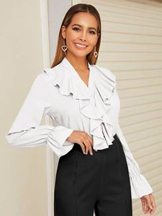 Sexy Blouse, Blouse Outfit, Cute Blouses, Beautiful Blouses, Lingerie Sleepwear, Ruffle Trim, Types Of Shirts, Types Of Sleeves, Chiffon