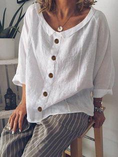 Blusas Informal Escote redondo Escote redondo Manga - Women's Fashion : Tops & Blouses - Short Sleeve Blouse, Long Sleeve Shirts, Long Shirts, Short Sleeves, Blouse En Coton, Sexy Bluse, Shirt Bluse, Plus Size Blouses, Casual Tops