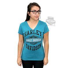 Harley-Davidson Womens Long B&S Trademark Teal Short Sleeve V-Neck - MD. Harley-Davidson Womens Long B&S Trademark Teal Short Sleeve V-Neck. Specific Color: Teal. Dealer Customized Item (BARNETT HARLEY DAVIDSON). Officially Licensed Harley-Davidson Product by VF Imagewear.