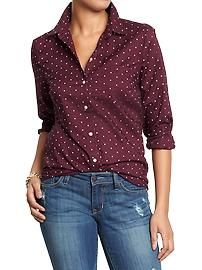Women's Polka-Dot Button-Front Shirts