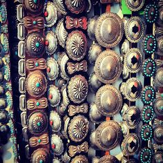 vintage belts-- love seeing photos taken of our space! check out our vintage concho belts on the website www.shiprocksantafe.com