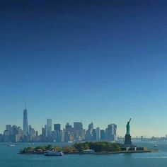 View of the Statue of Liberty and lower Manhattan from Staen Island