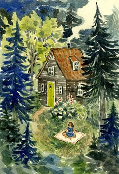 """By Phoebe Wahl""    It was a beautiful spring day, and so Debbie took her favorite book and a blanket into the garden.  ;-)"