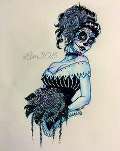 regram @lin308 #Inktober Day 23  Dia De Los Muertos suggested by @kellykell__  @inktober #inktober2go #inktober2015 #inktoberday23 Open to suggestions!