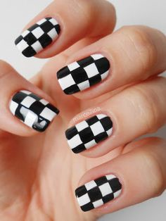 Checkered nails.