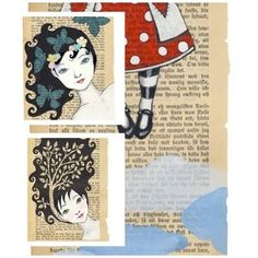 I'm a huge fan of using book pages for art and illustration - and one of my favorite in this genre is Carambatack Design out of Norway. Her art draws me in, and when she offers them on vintage Norwegian book pages they become even more spectacular. I can't even choose just one to show you - that's how much I love them.