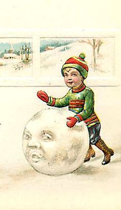 Antique vintage image of a boy rolling an anthropomorphic snowball Vintage Christmas Images, Christmas Past, Victorian Christmas, Vintage Holiday, Christmas Pictures, Christmas Snowman, Christmas Postcards, Winter Cards, Holiday Cards