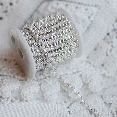 3 Feet Rhinestone and Pearl Chain Australia Crystal Silver SS16 4mm Wedding Cake Decoration Brooch Bouquet Jewelry Supply RC056