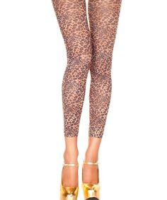 Tan Leopard Opaque Footless Tights