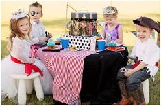 Great party idea for girls + boys together: PIRATES + PRINCESSES Birthday Party Ideas on http://pizzazzerie.com