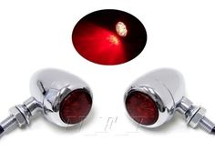 Motorcycle RED / CHROME Bullet LED Turn Signal  Brake STOP  Running Tail Light
