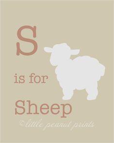 8x10 S is for Sheep Nursery Art Print by LittlePeanutPrints, $15.00