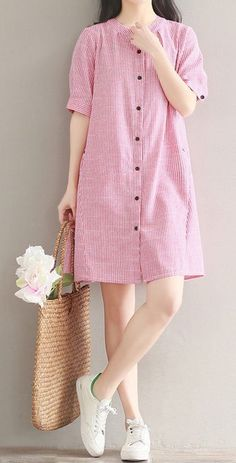 Women dress loose fit dress stripes skirt pocket short sleeve summer casual pink #Unbranded #dress #Casual