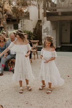 These flower girls wore beachy dresses with sweet floral crowns Flower Girl Beach Wedding, Wedding Flower Girl Dresses, Flower Girls, Wedding Bride, Boho Wedding, Dream Wedding, Bride Groom, Destination Wedding, Wedding Fun