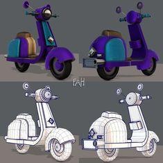 Scooter Cartoon | 3D model 3d Assets, 3d Projects, 3d Animation, 3d Printing, Cartoon, Game, Model, Engineer Cartoon, Mathematical Model
