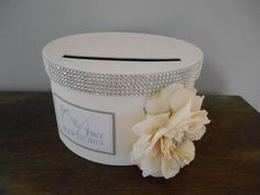 Vintage Glam Wedding Card Box Modern  round with ivory ribbon ivory rose with rhinestones personalized tag You Customize Colors and Flowers