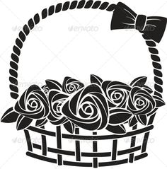 Gift Basket with Roses. Vector Illustration