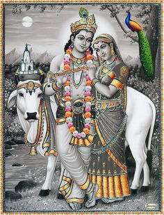 Radha Krishna with Cow (Reprint on Card Paper - Unframed)