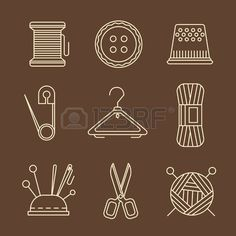 Vector sewing equipment and needlework icons set Applique Designs, Crochet Designs, Sewing Tattoos, Sewing Crafts, Sewing Projects, Craft Booth Displays, Sewing Equipment, Applique Tutorial, Needle Book
