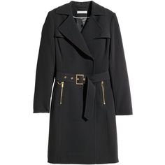 H&M Trenchcoat (520 SEK) ❤ liked on Polyvore featuring outerwear, coats, black, black double breasted coat, black trenchcoat, double breasted trench coat, h&m coats and black coat