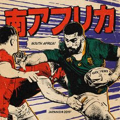 Japan Rugby World Cup イラスト on Behance South African Rugby, Rugby World Cup, Manga Comics, Japan, Illustration, Sports, Tuna, Wales, Behance