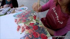 Mixed Media - Decoupage cu maci si pictura in ulei / poppies & oil painting