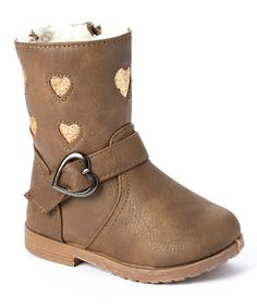 Look what I found on #zulily! Taupe & Gold Shimmer Heart Boot #zulilyfinds