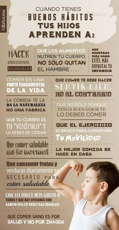 Mi pequeños aportes: Tus hijos aprenden de tus buenos hábitos Aquí te dejo u… My little contributions: Your children learn from your good habits Here is an infographic about the good healthy habits that your children learn from you. Sport Nutrition, Nutrition Chart, Nutrition Quotes, Kayla Itsines, Holistic Nutrition, Good Habits, Quotes For Kids, Health Coach, Kids Education