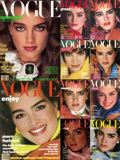 Ten of of Brooke Shields' 1980s Vogue covers (1980-1986) shot by Richard Avedon. Shields appeared on thirteen total American Vogue covers in the 1980s.