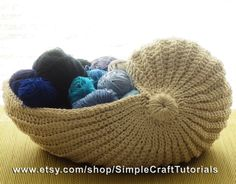 Crochet Nautilus Shell Basket PDF Pattern by SimpleCraftTutorials