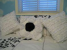 Beautiful ribbon and ruffle pillows